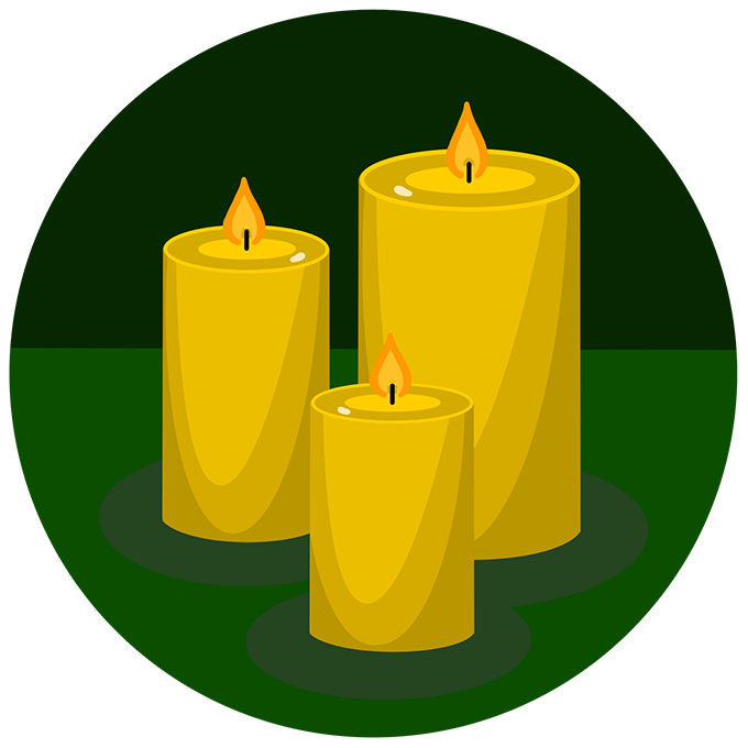 Illustration of yellow candles