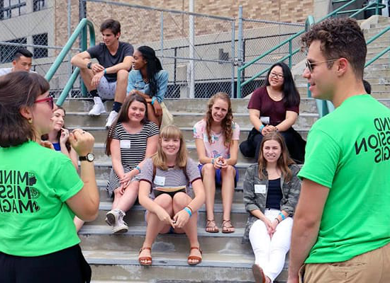 Evergreen students talking to new students