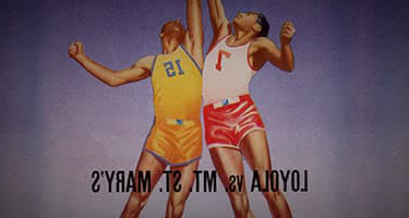 An old illustration of two basketball players jumping f要么 the ball - with Loyola vs Mt St. Mary's written underneath