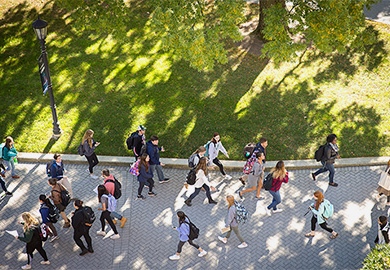 Aerial shot of students walking on campus