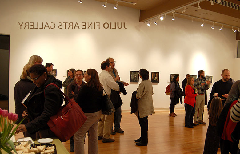 Students at a gallery opening